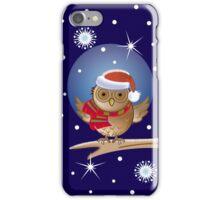 Cute Owl with Santa hat iPhone Case/Skin