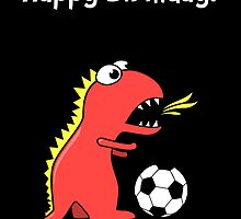 Funny Cartoon Dinosaur Soccer Black Birthday Card by Boriana Giormova