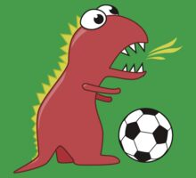 Funny Cartoon Dinosaur Soccer Shirt Kids Tee