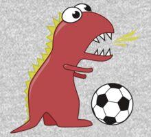 Funny Cartoon Dinosaur Soccer Shirt One Piece - Long Sleeve