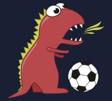 Funny Cartoon Dinosaur Soccer Shirt One Piece - Short Sleeve