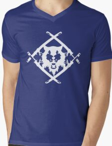 Xavier Wulf Black Mens V-Neck T-Shirt
