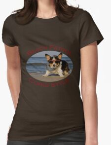 Beach Patrol Corgi Style Womens Fitted T-Shirt