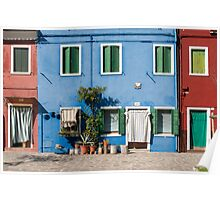 Blue House, Burano, Venice Poster
