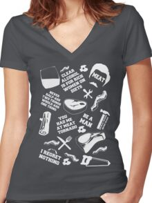 Ron Swanson Fanboy/Fangirl Women's Fitted V-Neck T-Shirt