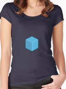 Blue Pixel-Art Cube Women's Fitted Scoop T-Shirt