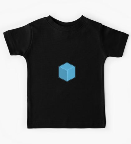 Blue Pixel-Art Cube Kids Tee