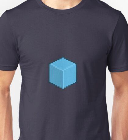 Blue Pixel-Art Cube Unisex T-Shirt