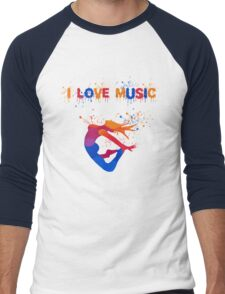I LOVE MUSIC Men's Baseball ¾ T-Shirt