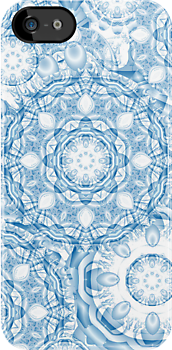 Blue patchwork, decorative shapes and patterns by walstraasart