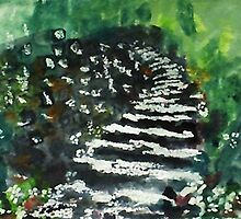 Steps in the garden, watercolor by Anna  Lewis