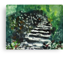 Steps in the garden, watercolor Canvas Print
