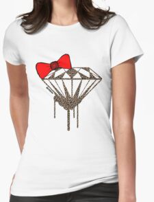 DIAMOND WITH A BOW TIE W/ LEOPARD PRINT :D Womens Fitted T-Shirt
