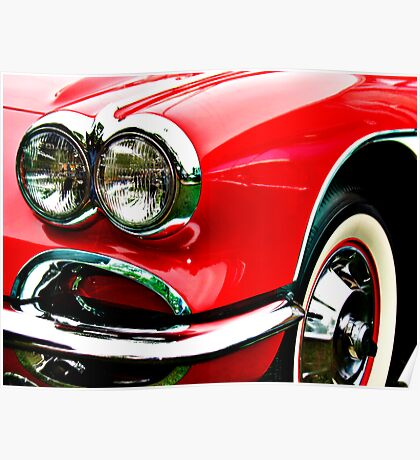 Red Corvette Headlights Poster