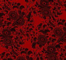 Chrysanthemum Black on Red by Bel Menpes