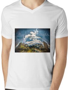 Reflection of building in an odd shaped mirror. Mens V-Neck T-Shirt