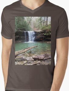 Rustic Appalachian Waterfall Scene Mens V-Neck T-Shirt