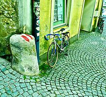 Wavy Cobbled Pavement with Cycle by magicaltrails