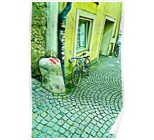 Wavy Cobbled Pavement with Cycle Poster