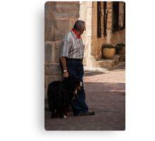 Monsieur et chien Canvas Print