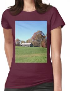 Barn on a Gently Rolling Hill Womens Fitted T-Shirt