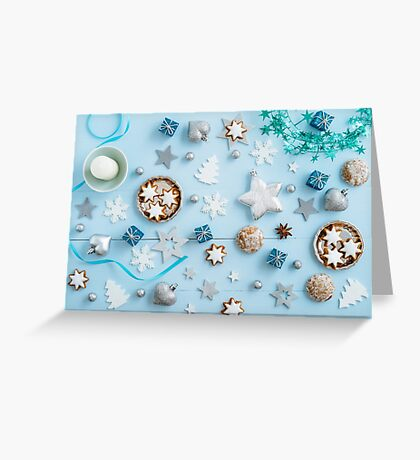 Blue Christmas decoration on wood Greeting Card