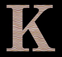 Letter K Metallic Look Stripes Silver Gold Copper by theartofvikki