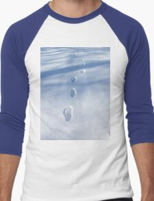 Unique Footprints in the Snow  Men's Baseball ¾ T-Shirt