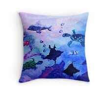 What is under the sea today, watercolor Throw Pillow