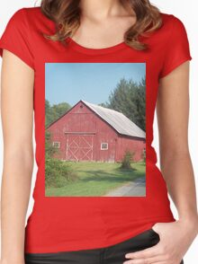 Nice Rustic Red Barn  Women's Fitted Scoop T-Shirt