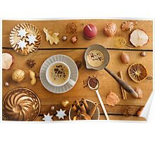 Christmas decoration on wood Poster