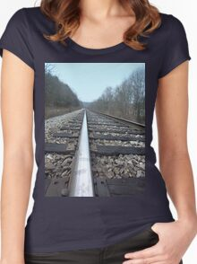 Steel Train Tracks Through the Appalachian Mountains Women's Fitted Scoop T-Shirt