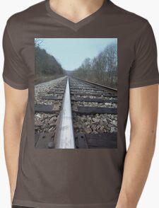 Steel Train Tracks Through the Appalachian Mountains Mens V-Neck T-Shirt