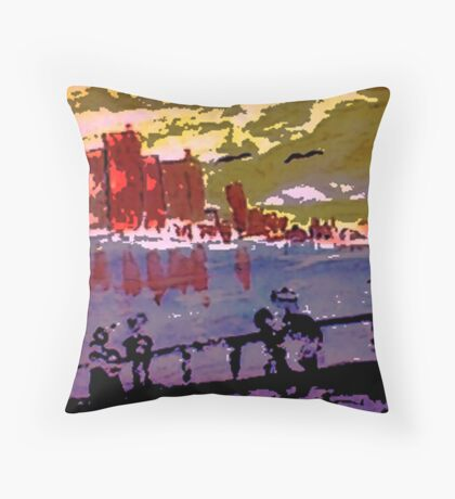 London, watercolor Throw Pillow