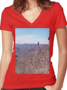 Scenic Appalachian Mountains Overlook Women's Fitted V-Neck T-Shirt