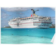 """Carnival Ecstasy"" in Nassau Harbour, The Bahamas Poster"
