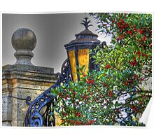 Gate Lamp Accent in Red Berries Poster