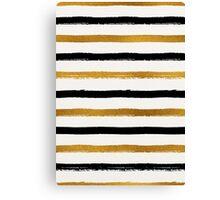 Black and Gold Foil Stripes Pattern Canvas Print