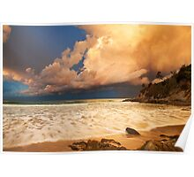 Sunset storm at Broken Head, NSW Poster