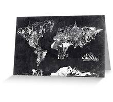 world map black and white Greeting Card