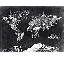 world map black and white Photographic Print