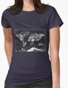 world map black and white Womens Fitted T-Shirt