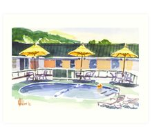 Poolside with the Three Amigos Art Print