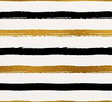 Black and Gold Foil Stripes Pattern by Iveta Angelova
