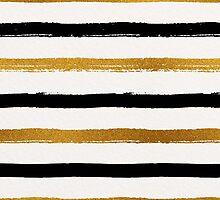 Black and Gold Foil Stripes Pattern by Iveta Angelova
