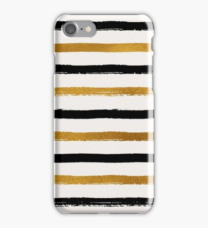 Black and Gold Foil Stripes Pattern iPhone Case/Skin