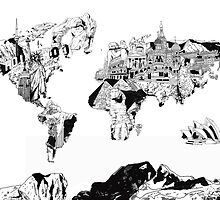 world map black and white 2 by BekimART