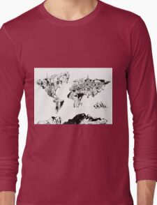 world map black and white 2 Long Sleeve T-Shirt