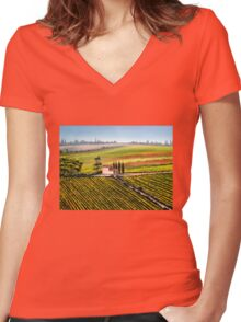 Tuscan Tranquility Women's Fitted V-Neck T-Shirt