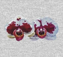 Maroon and White Phalaenopsis Orchids Side by Side One Piece - Long Sleeve